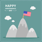 Star and strip flag on the top of mountain Happy Royalty Free Stock Photo