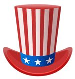 Star striped Uncle Sam hat symbol united states of america. Isolated on white vector illustration Royalty Free Stock Images