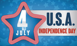 Star with Stripped Border with Label for Independence Day Celebration, Vector Illustration Stock Photo