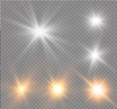 Star su un fondo trasparente, l'effetto della luce, illustrazione di vettore scoppio con le scintille Fotografie Stock