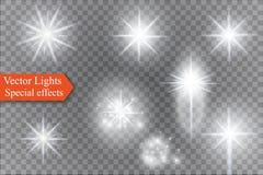 Star su un fondo trasparente, l'effetto della luce, illustrazione di vettore scoppio con le scintille Fotografie Stock Libere da Diritti