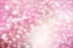 Star sul fondo rosa e bianco, astratto del bokeh Fotografia Stock Libera da Diritti