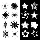 Star and sun set. Vector set of star and sun symbols Stock Images