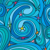 Star swirl line seamless pattern Royalty Free Stock Photo