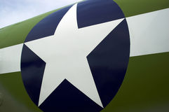 Star Symbol. The American airforce star logo on the fuselage of a Lockheed Martin airplane royalty free stock photos