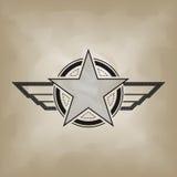 Star symbol on crumple paper Stock Photo