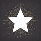 Star symbol vintage label, grunge textured retro badge, typography design vector illustration.  stock illustration