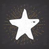 Star symbol vintage label, grunge textured retro badge, typography design vector illustration on chalkboard background.  vector illustration