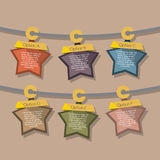 Star Tags Hang On Rope Stock Image