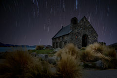 Star tail at Church. Lake Tekapo, New Zealand (retouch photo Royalty Free Stock Image