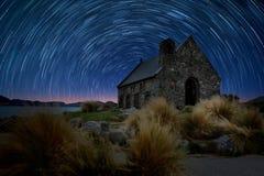 Star tail at Church, Lake Tekapo Royalty Free Stock Photo