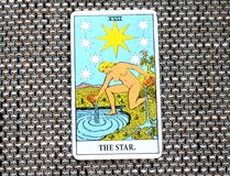 The Star Tarot Card Hope, happiness, opportunities, optimism, renewal, spirituality. The Star Tarot Card is about hope, happiness, opportunities, optimism stock illustration