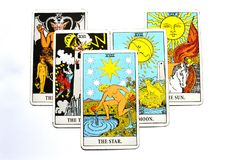 The Star Tarot Card Hope, happiness, opportunities, optimism, renewal, spirituality. The Star Tarot Card is about hope, happiness, opportunities, optimism Stock Photo
