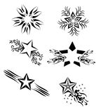 Isolated set of Stars tattoo in black Stock Photo