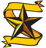Star tattoo. Tattoo drawings with yellow stars Royalty Free Stock Photo