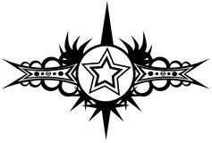 Star tattoo in black and white Royalty Free Stock Photo