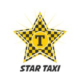 Star taxi logotype with checker in yellow and black colors. Isolated on white. Vector illustration in flat design of delivery passengers service, taxiing Stock Images
