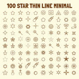 100 star thin line icons set. Vector illustration design elements Stock Photos