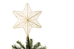 Star on top of christmas tree Stock Photo