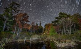 Star Trail Acadia National Park in Autumn royalty free stock images