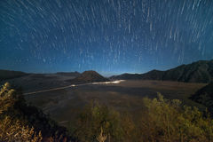 Star Trail Bromo Tengger Semeru National Park Royalty Free Stock Photos