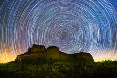 Star Trail in the Castle stock photo