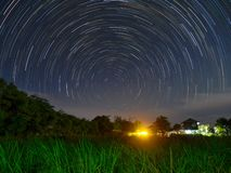 Star trail at the field. Sky and stars royalty free stock photography