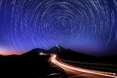Star Trail in Hehuan mountain. Hehuan mountain is located in the middle of Nantou county and Hualien county. It's also one of the highest parks in stock image