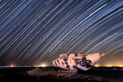 Star Trail Image at Night Long Exposure stock photo
