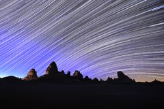 Star Trail Image at Night Long Exposure stock photography