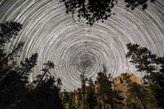Star trail inside Bryce Canyon Royalty Free Stock Photos