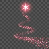 Star trail isolated black transparent background. Red light comet, glittering sparkle. Twinkle glitter shooting. Magic. Effect, wave Christmas decoration vector illustration