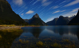 Star trail from Milford sound. Stock Photos