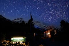 Star trail at mount Cook national park royalty free stock image