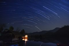 Star Trail in the mountains. And lake stock images
