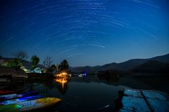 Star Trail in the mountains. And lake royalty free stock photography