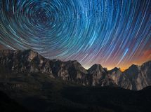 Star Trail on the mountains royalty free stock photos