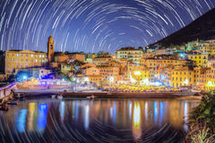 Star trail in Nervi - Italy Ge. Royalty Free Stock Images
