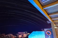 Star trail night in Greece royalty free stock image