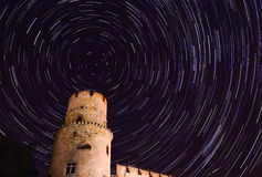 Star trail in the night sky at midnight crop royalty free stock photos