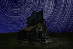 Star Trail Night Time Lapsed Exposure in Palouse Washington. Night Star Trail Time Lapsed Exposure in Palouse Washington royalty free stock photo