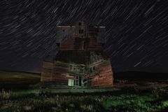 Star Trail Night Time Lapsed Exposure in Palouse Washington. Night Star Trail Time Lapsed Exposure in Palouse Washington royalty free stock image