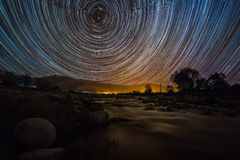 Star Trail over Gredos. Star Trail over one of the many rivers of the Mountains of Gredos in Spain royalty free stock images
