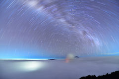 Star Trail over Mount Bromo Royalty Free Stock Photography