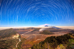 Star trail over Mount Bromo volcano,Tengger Semeru National Park. East Java, Indonesia Royalty Free Stock Images
