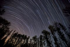 A star-trail photo. A 120 minute long star-trail photo from Karnataka, India stock photography