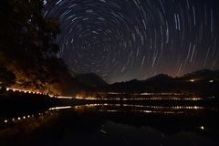 Star Trail Photography near Sattal Lake royalty free stock photos