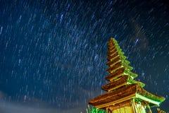 Star Trail at Pura Ulun Danu Bratan Royalty Free Stock Photography