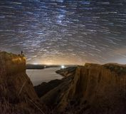 Star Trail on a reservoir. Star Trail on a landscape of the center of Spain royalty free stock photography