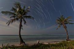 Star trail at tidung island Royalty Free Stock Image